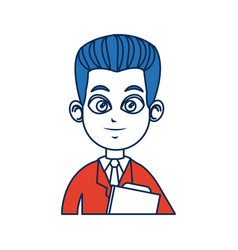 Doctor man people character with blue hair image vector