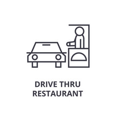Drive thru restaurant line icon outline sign vector