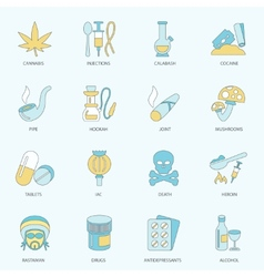 Drugs icons flat line vector