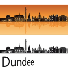 Dundee skyline in orange background vector
