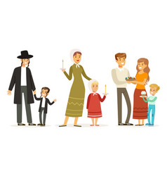 families different religions collection vector image