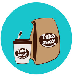 Fast food disposable cup and paper bags vector