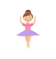 Flat teen kid ballerina isolated vector