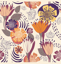 floral decorative seamless pattern vector image