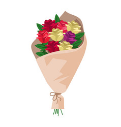 flower bouquet in wrapping paper isolated on white vector image