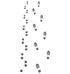 Footprints of man and dog vector