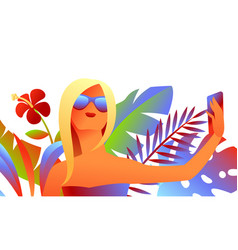 girl in sunglasses makes selfie vector image