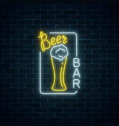 glowing neon signboard of beer bar in rectangle vector image
