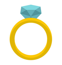 Gold ring with diamond icon isolated vector