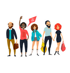 group of young hipsters male and female vector image