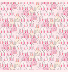 hand drawn cute bunny pattern background vector image