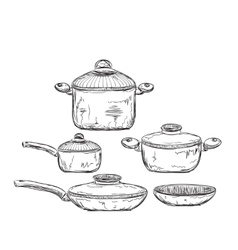 Hand drawn of Dishware vector image