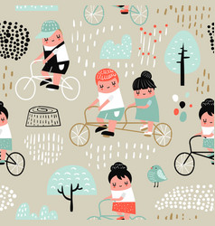 Hand drawn seamless pattern with kids on bicycle vector