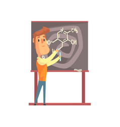 handsome scientist standing next to blackboard vector image
