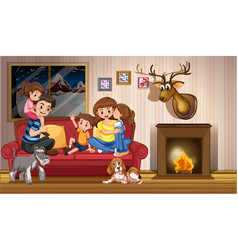 happy family quarantine at home vector image