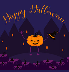 happy halloween postcard banner vector image