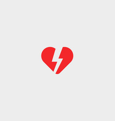 heart thunderbolt logotype love flash logo vector image