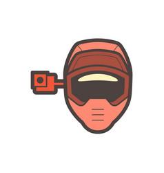 helmet camera icon vector image