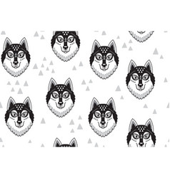 Husky or wolf monochrome seamless pattern vector