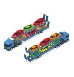 Isometric car transport truck on the road with vector