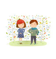 kids boy girl in autumn forest vector image