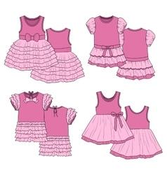 Kids dresses Sketch Pink vector