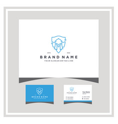 Knight tech logo design and business card vector