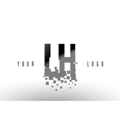 Lh l h pixel letter logo with digital shattered vector