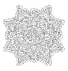 Linear art for adult coloring book page vector