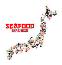 Map of japan with asian cuisine seafood dishes vector
