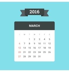 March 2016 Calendar vector