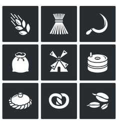 Mill and bread icon set vector image