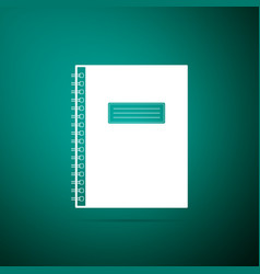 notebook icon isolated on green background vector image
