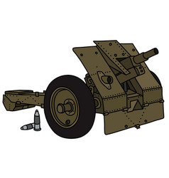 Old olive field cannon vector