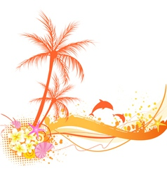 Orange palm abstract vector