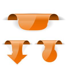 orange set stickers 3d labels with transparent vector image