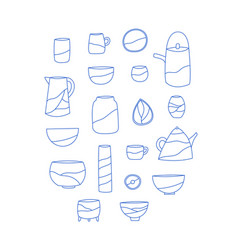 Outline set ceramic crockery vector