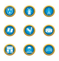 Paris icons set flat style vector