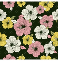 pattern of hibiscus on green background vector image