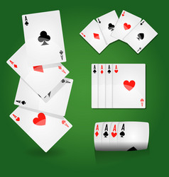 Play cards on green field aces sets casino vector