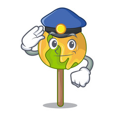 Police candy apple character cartoon vector