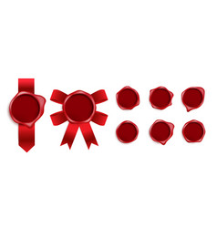 realistic red wax seal stamp set with silk red vector image