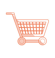 Red silhouette shading image shopping cart with vector