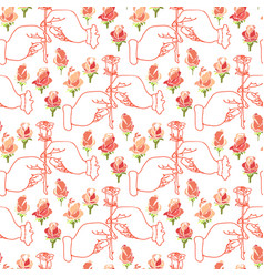 romantic seamless pattern with hands and flowers vector image