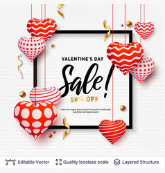 sale text in a frame and 3d hearts on white vector image