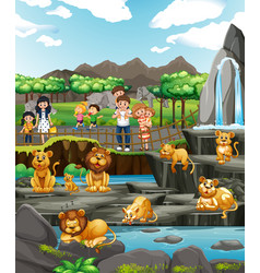 scene with animals and people at zoo vector image