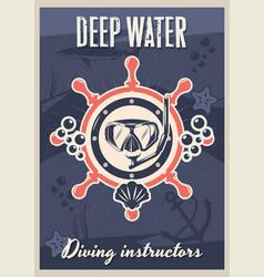 scuba diving instructors vintage typography poster vector image