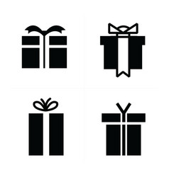 Set black gift icons vector