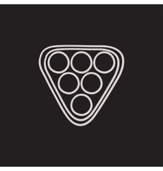Set of billiard balls in triangle sketch icon vector image