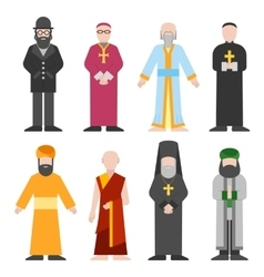 Set of different religion people confession vector